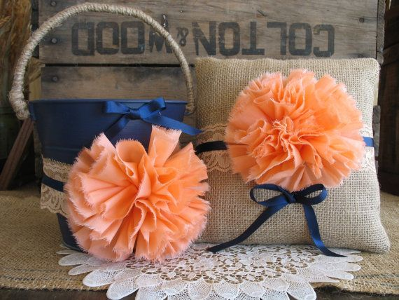 Flower Girl Basket Ring Bearer Pillow Set Shabby Chic Wedding Rustic Wedding Navy And Coral on Etsy, $60.00