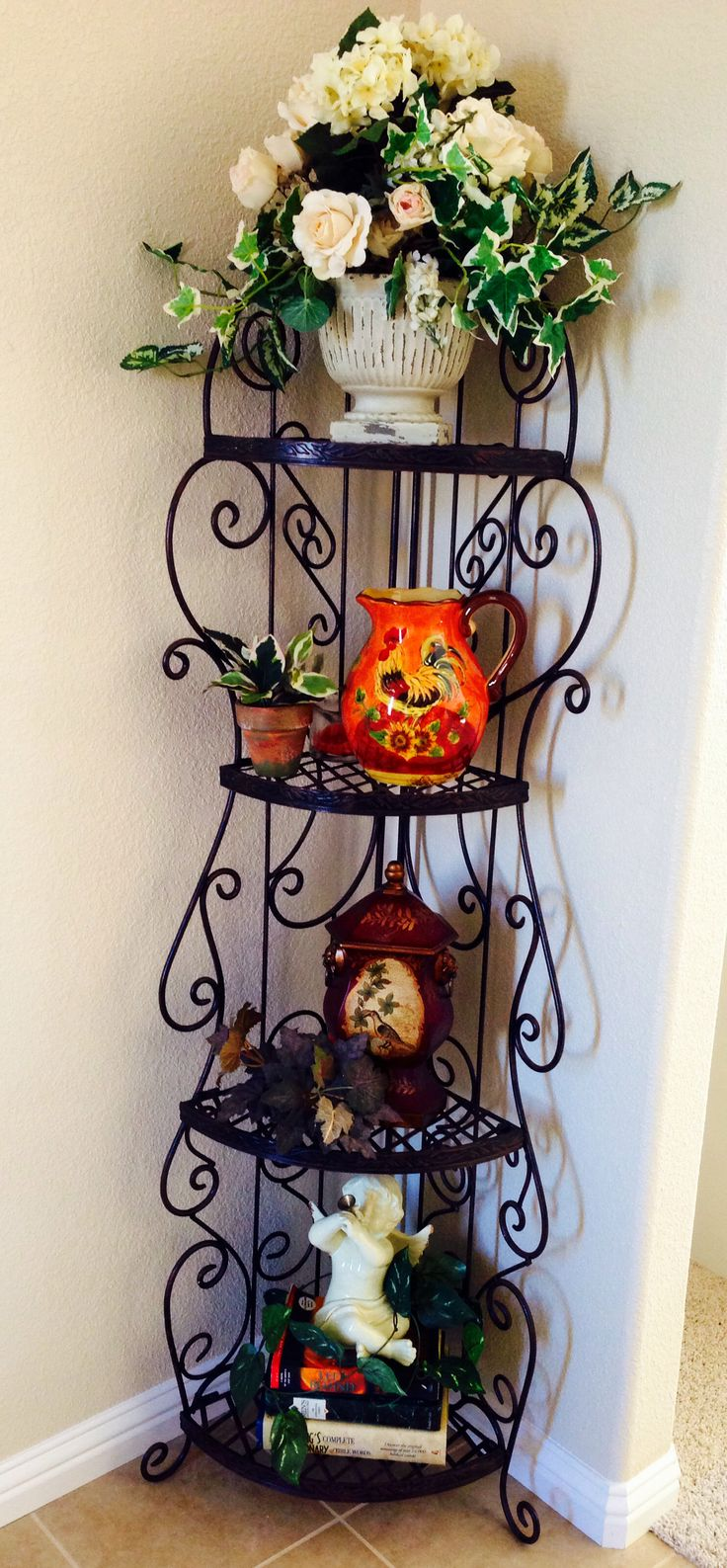My Tuscan Decor Found And Collected From Craigslist The Wrought Iron Corner Shelf I Bought Cl For 25 Fro Home On A Budget