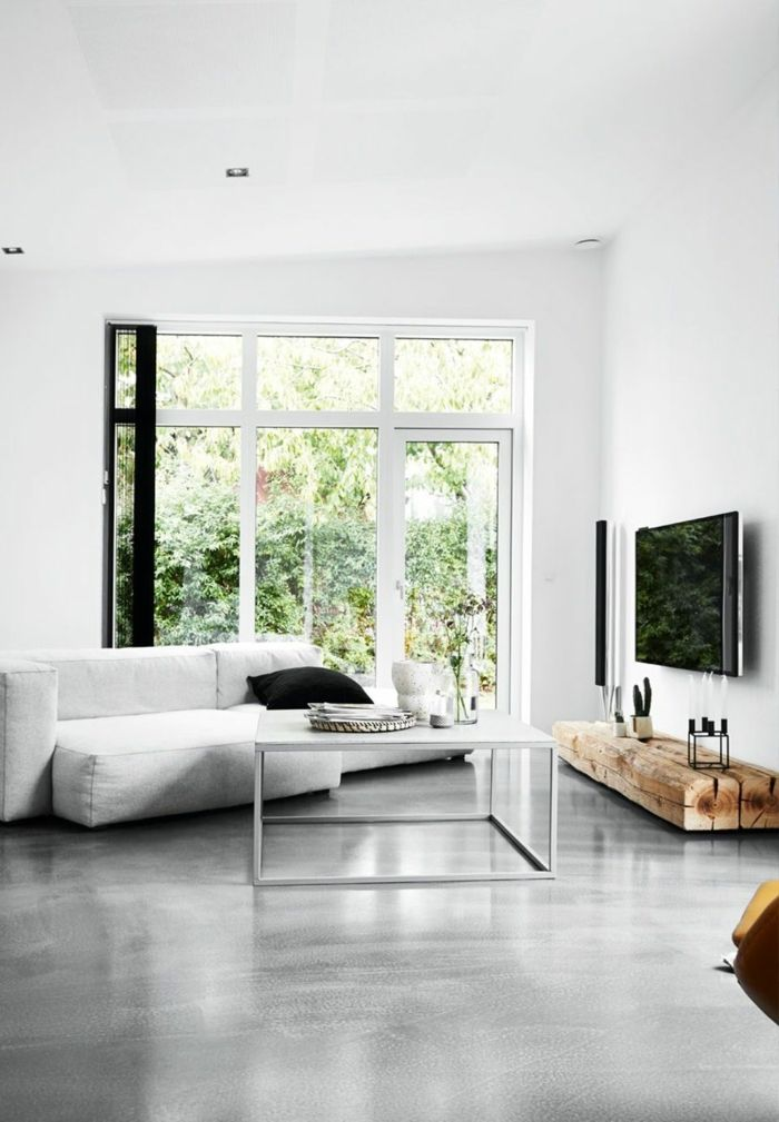 ▷ 1001 + Ideen für Betonboden mit Vorteilen dieses Bodenbelags - Moderne Tische Fur Wohnzimmer