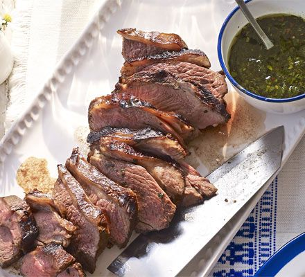 Barbecued lamb with sweet mint dressing recipe - Recipes - BBC Good Food