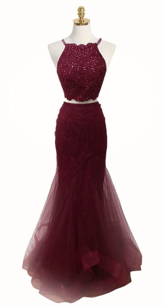 elegant two piece burgundy tulle prom dress with beading, fashion 2 piece mermaid party dress with beading B0281