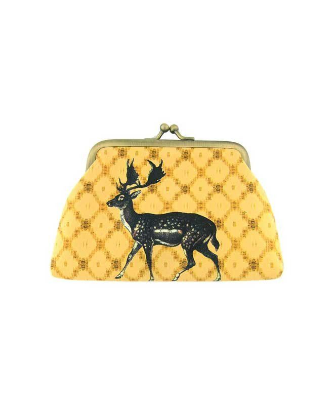 Made with SGS tested toxic-free faux/vegan leather, this vintage style kiss lock frame faux/vegan leather coin purse features lovely Deer on ikat style print by Mlavi Studio. Wholesale available at http://mlavi.com/mlavi-animal-themed-vegan-bag-wallet-and-accessories-wholesale.html #animal #vegan #wholesale #fashion #accessories #gift