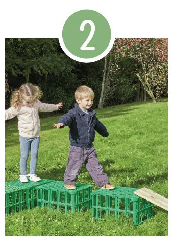 The children can line up the crates to create a raised platform, including planks as a way up and down. As these crates are lightweight, children can build their own balance trails. Encourage use of key coordination skills as they navigate their journey.