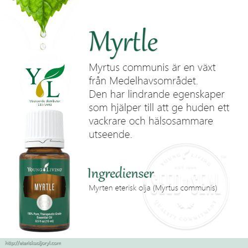 Myrtle (Myrtus communis) är en växt från Medelhavsområdet. Den har även lindrande egenskaper som hjälper till att ge huden ett vackrare och hälsosammare utseende.