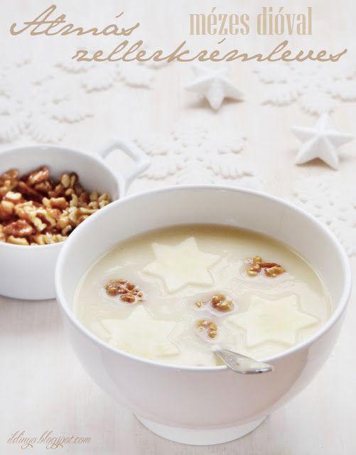 Hozzávalók: egy csipetnyi szeretet: Karácsonyi levesajánlat: Almás zellerkrémleves mézzel karamellizált dióval