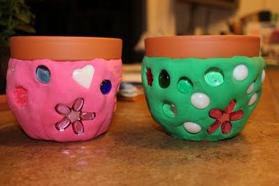 Mosaic Flower Pots made with clay
