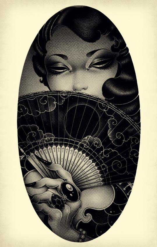 """Beautiful pin up girls by ONEQ"" is the original tag on this #illustration - I think it should be called ""The Fan Dance"""