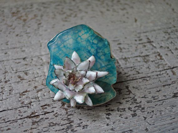 Ring from cloisonne and sterling silver Water Lily