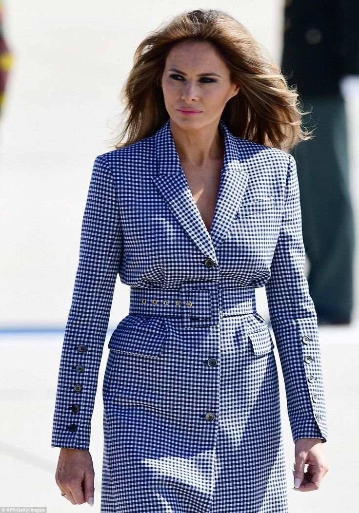 Melania Trump stepped off Air Force One at the Brussels Airport on Wednesday afternoon aft...