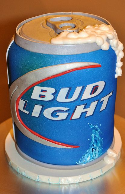 Bud Light Can  by thecakemamas, via Flickr OF COURSE it wont be BUD LIGHT but it would make a pretty neat grooms cake, if we do one!