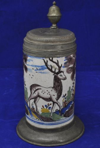 Antique-18th-Century-North-German-Faience-Polychrome-Stag-Beer-Stein