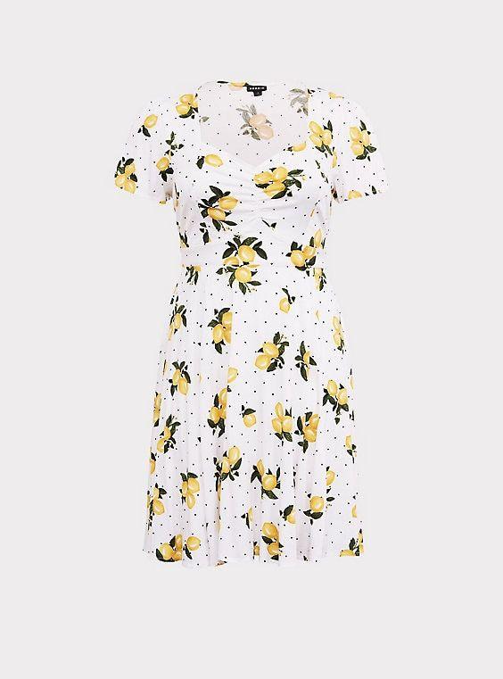 ec721f8598f9 White Lemon Dot Challis Skater DressWhite Lemon Dot Challis Skater Dress,  SWEET LEMONS