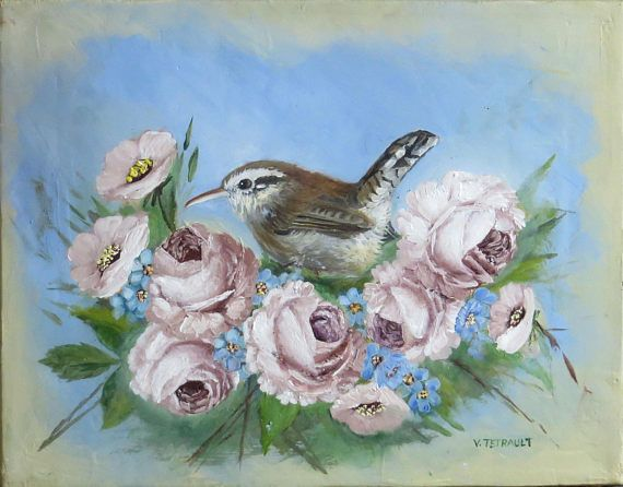 Bird with Roses Painting Fine Art Wall Hanging Bewick's