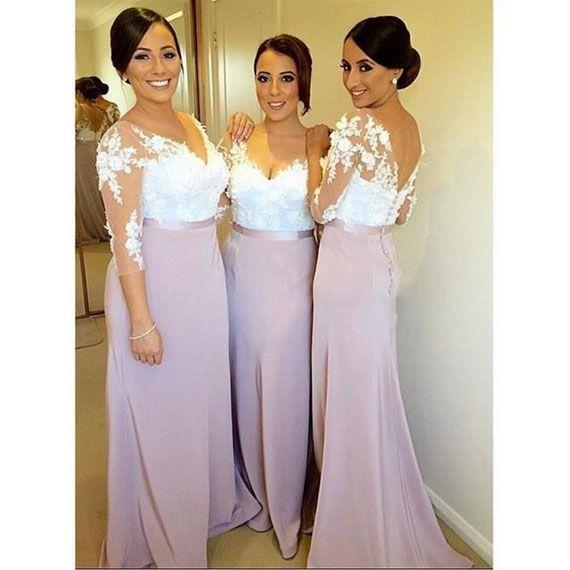 Lila Púrpura Del Cordón Atractivo Backless Largo Vestidos de dama de Honor Con Mangas Largas 2016 Opacidad vestidos de Boda Musulmán Partido Prom Vestidos FQ8