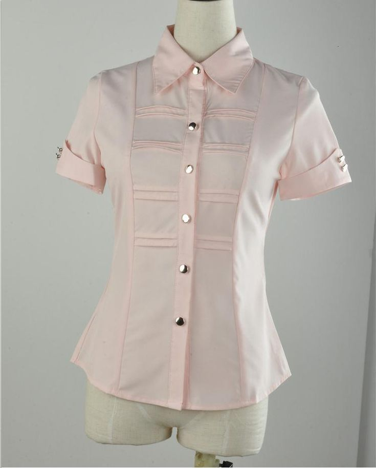 2013 Summer New Formal Women Shirts for Ladies Fashion Short Sleeve Blouse Work Wear Business Slim Pink Free shipping $22.70