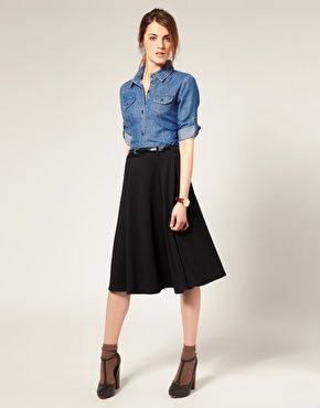 Enlarge ASOS Ponti Midi Skirt With Belt
