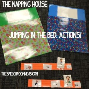 The Napping House activites for speech therapy in preschool. Actions on beds made from poster board! Ideas from SPeech Room News
