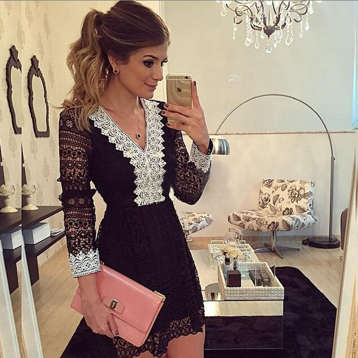 This black short lace dress with v-neck and hollow out sleeves is so fashion and sexy, it's suit for cocktail party and even evening party. You will be shinning in the party with this lace dress.Size:..