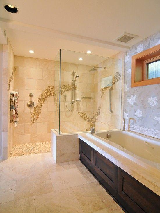 25 best images about doorless showers on pinterest - Doorless shower in small bathroom ...