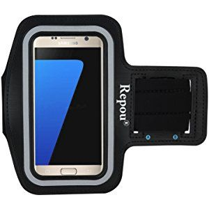 Repou Brazalete Deportivo para Samsung Galaxy S7 Edge Armband de Neopreno Antideslizante con Velcro Estable de Plástico y Un Bolsillito, Contra el Sudor, Alta Calidad para Correr Hacer Ejercicios