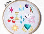 11 Cutie Mark Patterns from My Little Pony Mane 6, Twilight, Pinkie, Rainbow, AppleJack, Rarity, Fluttershy, princess cadence, luna, cadence