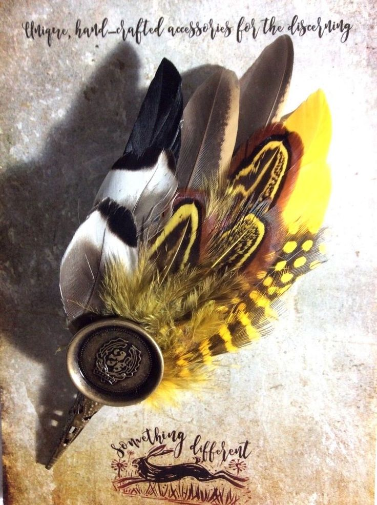 Ascot Buttonhole wedding feather pin hunting hat men's ladies yellow black 8 cm