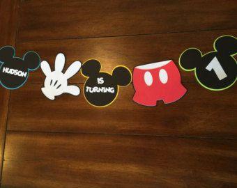 Custom Mickey Mouse high chair banner