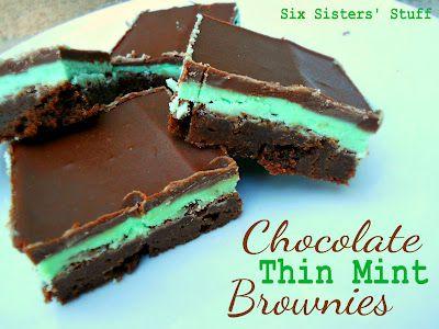 Chocolate Thin Mint Brownies from SixSistersStuff.com #dessert