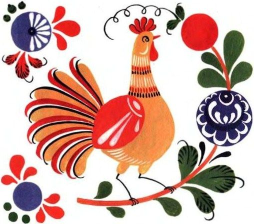 Folk Gorodets painting from Russia. A cock and a floral pattern. #art #folk #painting #Russian