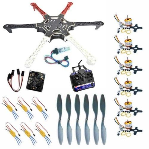 This is a great combination of Hexa frame, BLDC motors, ESCs and propellers, kk multi copter control board V 5.5 with USB Programmer, 2.4 GHz Transmitter & Receiver to help you quickly build your own Hexa copter.