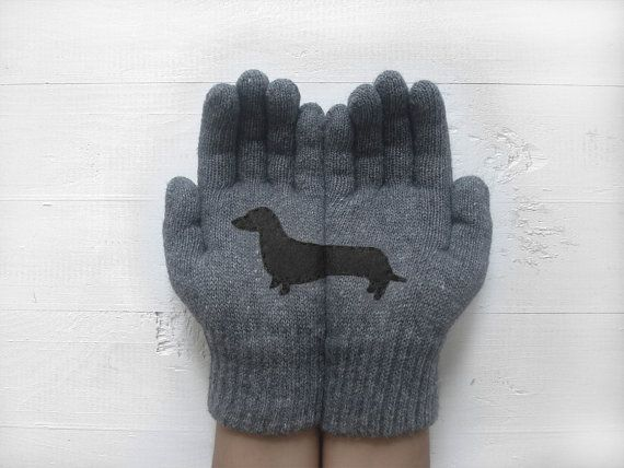 CHRISTMAS, HOLIDAY GIFT, Doxie Gloves, Sausage Dogs, Dachshund, Wiener Gloves, Dog Lovers, Grey Gloves, Special Gift, Xmas Gift Idea, Dogs