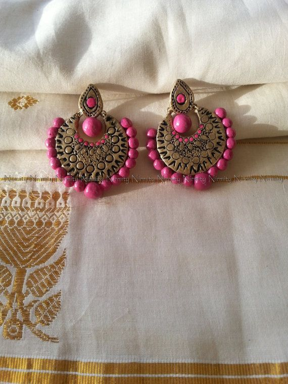 Gold pink terracotta earrings Terracotta jewelry by NIRMITY