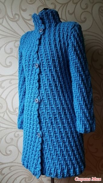 crochelinhasagulhas: Casaco azul em crochê