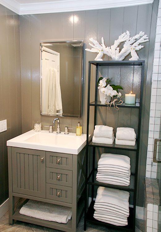Black Tower W/ White Coral,candle,orchid,towels U0026 Adorable Forged Metal ·  Lake House BathroomForging MetalBathroom VanitiesBathroom ...