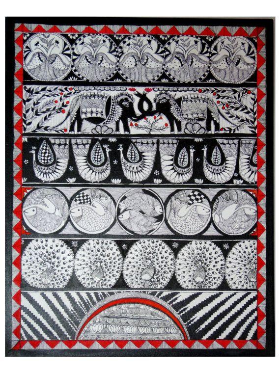 Surya Rays of life Original madhubani painting by Swarag on Etsy, $150.00