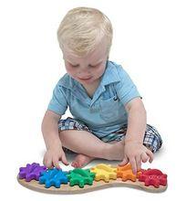 Candice guo de madera montessori juguete de plástico kid regalo de navidad de cumpleaños del niño del arco iris oruga forma de engranaje montar juego de partido(China (Mainland))