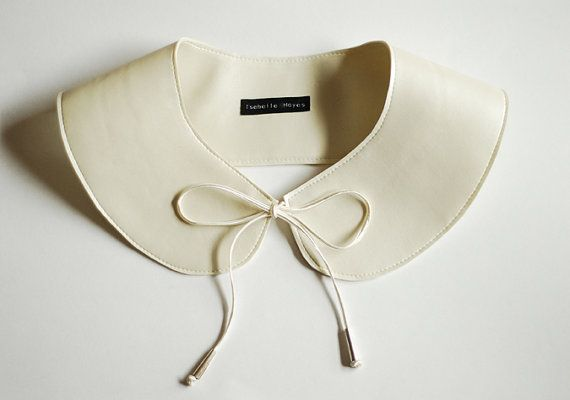 Jolie Môme Pearl Faux Leather Peter Pan Bow Tie Collar by Isabelle Hayes