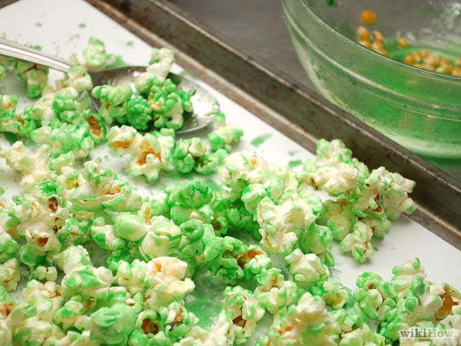 how to make green popcorn for halloween