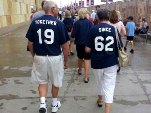 """Together since 1962"" - precious! Talk about a couple's outfit"