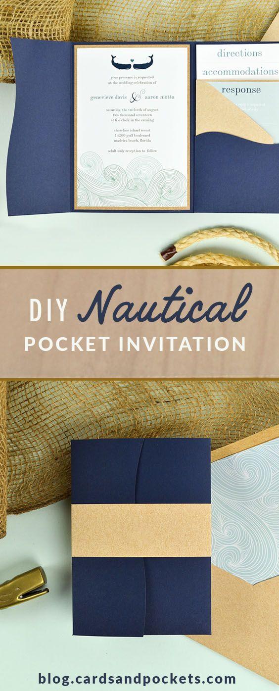 Nautical Ocean Waves Diy Pocket Invitation Navy Weddings And Coral Wedding Color Binations Invitations: Nautical Wedding Pocket Invitations At Reisefeber.org