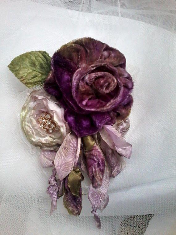 velvet rose shabby brooch, corsage, hair accessory, velvet flowers, wedding, purple rose brooch, handmade velvet rose, floral corsage,