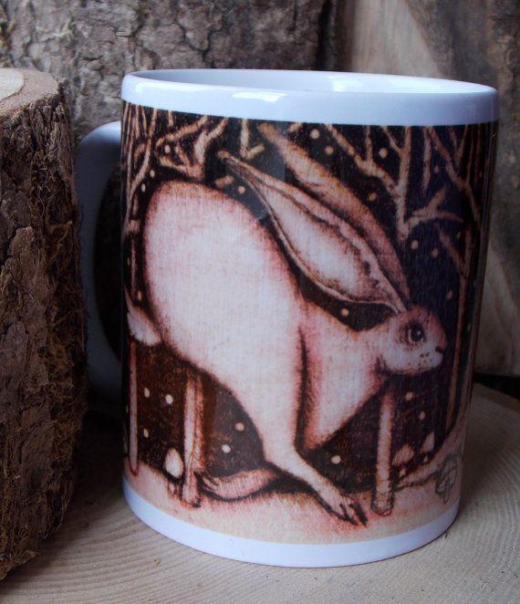 Hare mug original art work woodland gift by salixpyrography