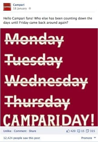 Campari global Facebook page.