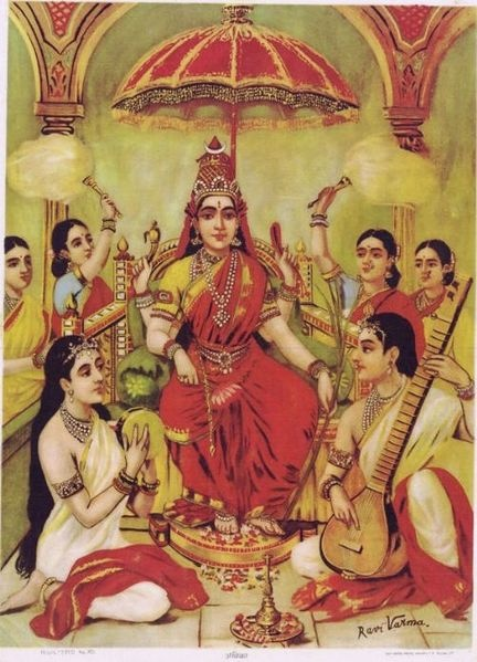 Goddess Ambika (Durga) by Raja Ravi Varma (1848–1906) via Wikimedia Commons.