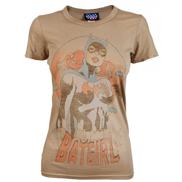 Junk Food Ladies Batgirl T Shirt, Brown ($17) ❤ liked on Polyvore featuring tops, t-shirts, brown tee, brown t shirt, junk food clothing, brown tops and beige t shirt