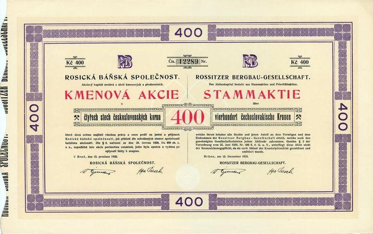 Rosická báňská společnost (Rossitzer Bergbau-Gesellschaft). Kmenová akcie na 400 Kč. Brno, 1922.