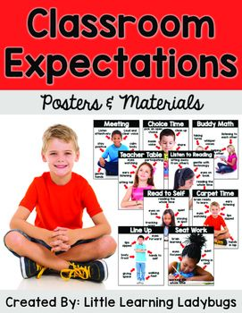 As much as I love using cute clipart in my classroom, there's just something about using real-life photographs that I LOVE. I especially love to use real pictures when teaching my students about our classroom expectations. Students are better able to relate when they see a student similar to themselves demonstrating the correct way to behave in a classroom setting.This Classroom Expectations Pack is filled with posters and materials to support your classroom management and school-wide PBIS…