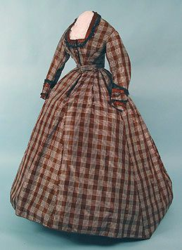 1860s Plaid Silk Taffeta Dress - over the completely wrong hoop shape! Def late 60s, maybe early 70s.