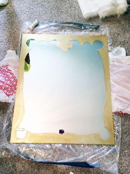 DIY- Frameless Mirror Gets Fancy | Kara Paslay Design