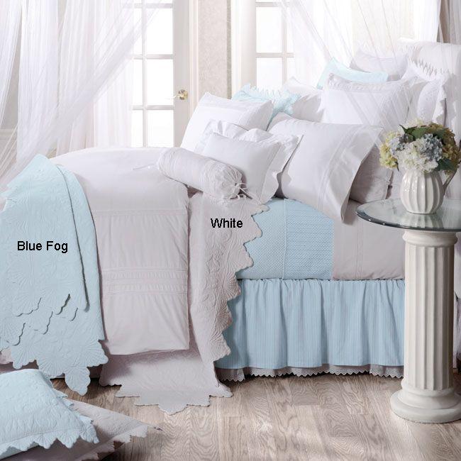 queen quilt u0026 shams bed set ocean blue shabby beach cottage chic shell edge new